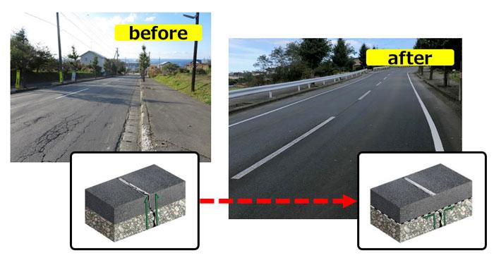 道路のひび割れ抑制シート『グラスグリッド』の施工前(左)と施工後(右)の道路の状況