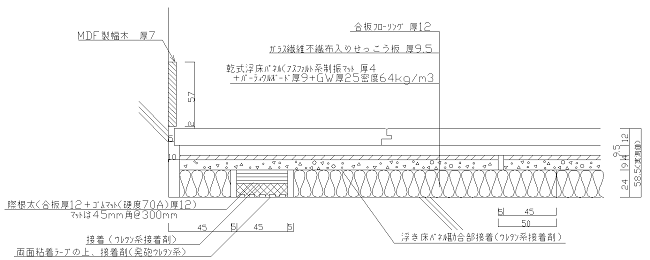 図1 乾式浮床ベースケア(内装用)基本断面図