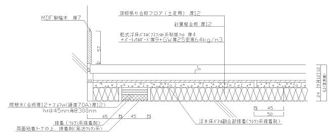 図2 乾式浮床ベースケア(土足用)基本断面図
