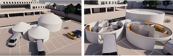 院外設置の医療用ゲル型仮設ドーム
